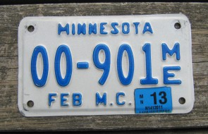 Minnesota Motorcycle License Plate 10,000 Lakes 2013