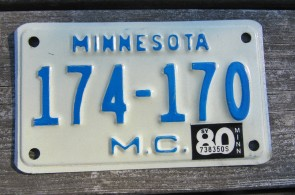 Minnesota Motorcycle License Plate 10,000 Lakes 1980