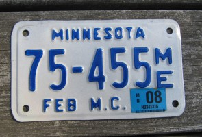 Minnesota Motorcycle License Plate 10,000 Lakes 2008