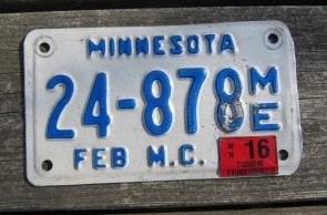 Minnesota Motorcycle License Plate 10,000 Lakes 2016