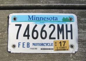 Minnesota Motorcycle License Plate 10,000 Lakes 2017