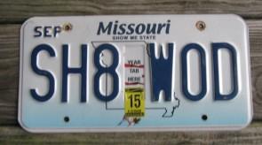 Missouri Blue Bird License Plate 2015 Show Me State