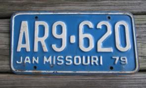 Missouri Blue White License PLate 1979