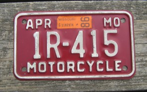 Missouri Red White Motorcycle License Plate 1998