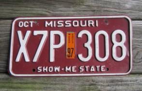 Missouri White Red License Plate 1997