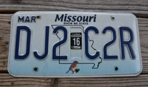 Missouri Blue Bird License Plate 2016 Show Me State