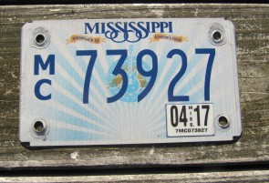 Mississippi Motorcycle License Plate Lucille Guitar 2017