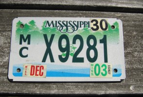 Mississippi Motorcycle License Plate Green Magnolia 2003