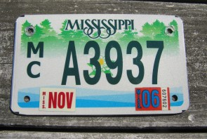 Mississippi Motorcycle License Plate Green Magnolia 2006