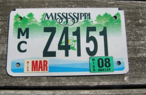 Mississippi Motorcycle License Plate Green Magnolia 2008