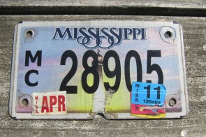 Mississippi Motorcycle License Plate Lighthouse Sunset 2011