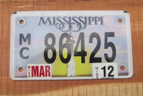 Mississippi Motorcycle License Plate Lighthouse Sunset 2012