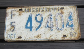 Mississippi Blue White License Plate 1963