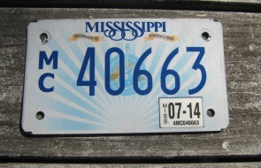 Mississippi Motorcycle License Plate Lucille Guitar 2014