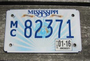 Mississippi Motorcycle License Plate Lucille Guitar 2016