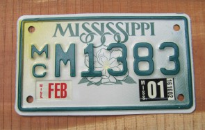 Mississippi Motorcycle License Plate Small Magnolia 2001