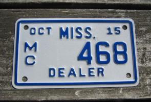 Mississippi Motorcycle License Plate Dealer 2015