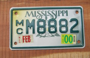 Mississippi Motorcycle License Plate Small Magnolia 2000