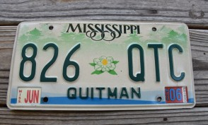 Mississippi Green Magnolia License Plate 2006