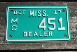 Mississippi Motorcycle License Plate Dealer 2017