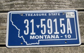 Montana Blue Treasure State License Plate 2014