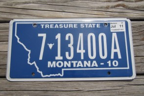 Montana Blue Treasure State License Plate 2011