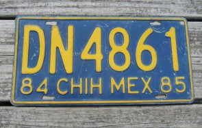 Chihuahua Mexico Blue Yellow License Plate 1985