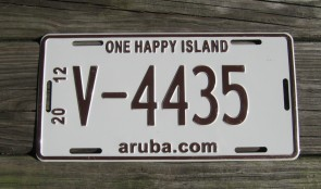 Aruba Brown White License Plate 2012
