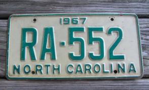 North Carolina Green White License Plate 1967