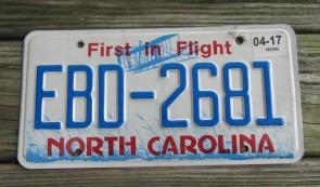 North Carolina License Plate First In Flight 2017