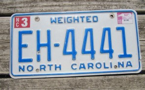 North Carolina Weighted Truck License Plate First In Flight 2015