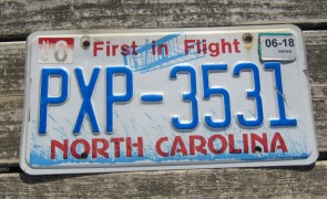 North Carolina License Plate First In Flight 2018
