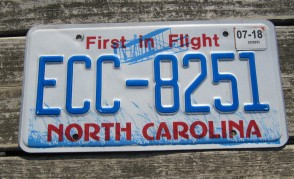 North Carolina License Plate First In Flight 2018