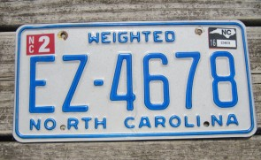 North Carolina Weighted Truck License Plate First In Flight 2016