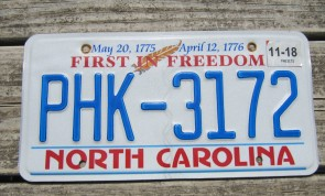 North Carolina First In Freedom License Plate 2018