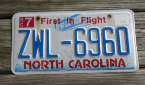 North Carolina License Plate First In Flight
