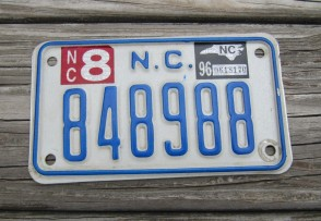 North Carolina Motorcycle License Plate 1996