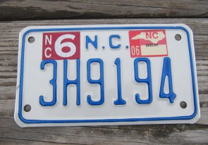 North Carolina Motorcycle License Plate 2006
