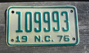 North Carolina Motorcycle License Plate Green White 1976