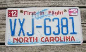 North Carolina License Plate First In Flight 2015