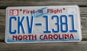 North Carolina License Plate First In Flight 2015