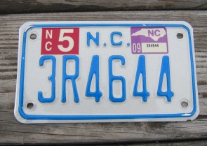 North Carolina Motorcycle License Plate 2009