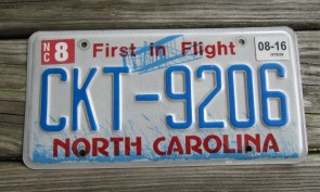 North Carolina License Plate First In Flight 2016