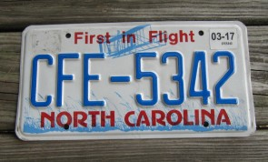 North Carolina License Plate First In Flight 2017