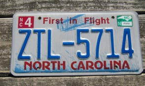 North Carolina License Plate First In Flight 2014