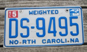 North Carolina Weighted Truck License Plate First In Flight 2013