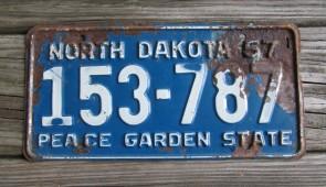 North Dakota Blue White License Plate License Plate 1957