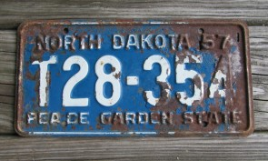 North Dakota Blue White License Plate License Plate 1957