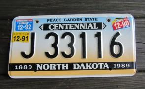 North Dakota Centennial License Plate 1992 Peace Garden State