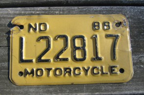 North Dakota Motorcycle License Plate Gold Black 1988